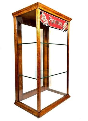 Antique Oak Wooden Glazed Pharmacy Shop Display Cabinet / Medicine Bottles